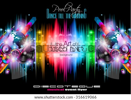 Disco Flyer Template for music event with space for your text. Abstract background with speaker and suggestive lights - stock vector