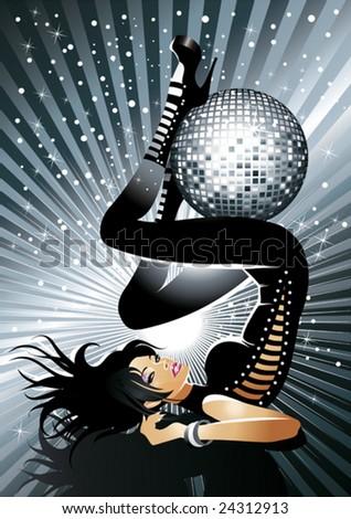 Disco girl - stock vector