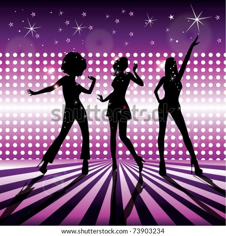 Disco girls vector - stock vector