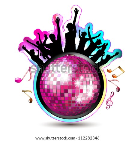 Disco globe and dancing silhouettes - stock vector