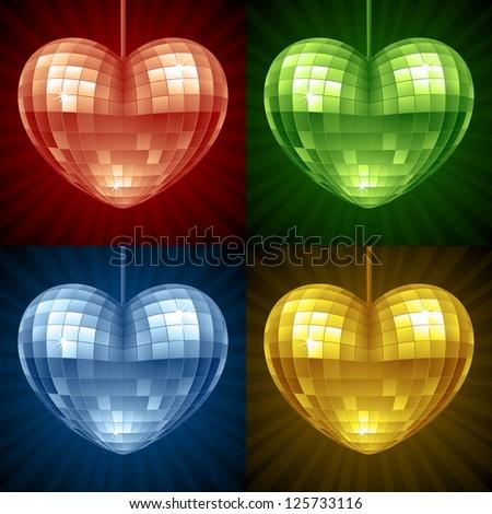 Disco Heart set. Vector mirror disco ball in the shape of heart - stock vector