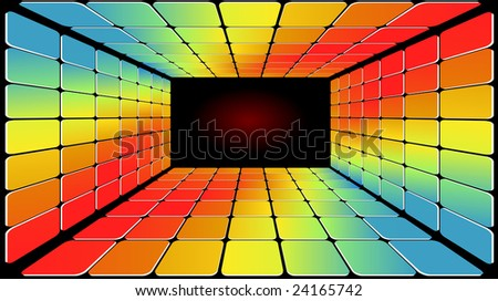 Disco Light Floor in Several Bright Psychedelic Colours - stock vector