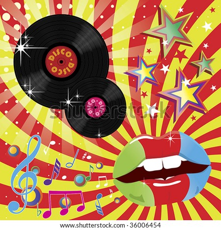 Disco music and dance event illustration. - stock vector