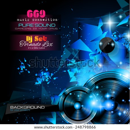 Disco Night Club Flyer layout with  music themed elements to use for Event Poster, Club advertisement, Night Contest promotions and Invitations. - stock vector