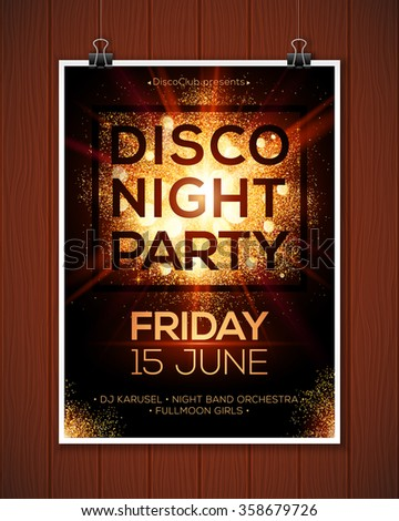 Disco night party vector poster template hanging at wooden background - stock vector