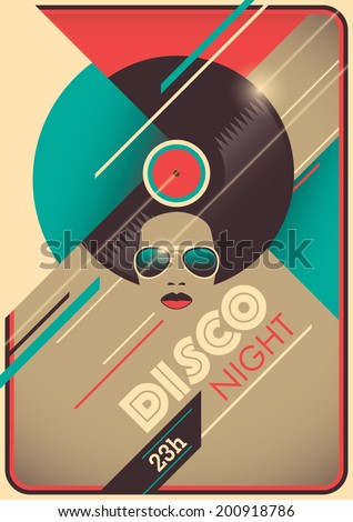 Disco night poster design. Vector illustration. - stock vector