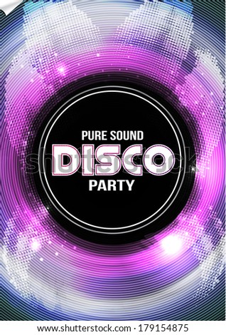 Disco Party Flyer Background Template Vector Stock Vector Hd
