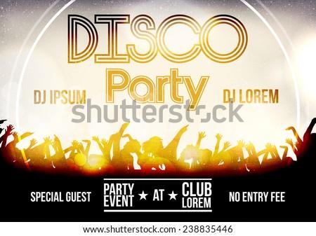 Disco Party Flyer Template - Vector Illustration - stock vector