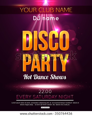 Disco party gold background. Hot dance background. Dance floor vector. Dance party. Disco dance floor. Disco poster. Disco background. Scene. Scene illumination. Spotlight effect scene background. - stock vector