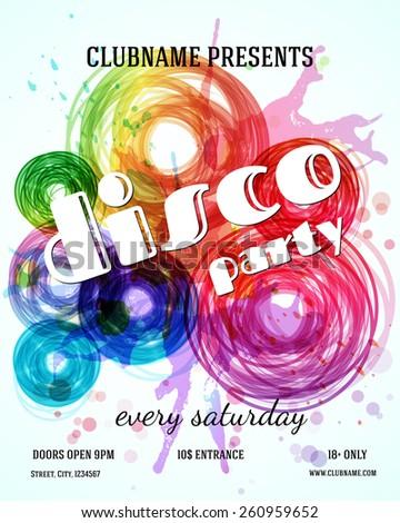 Disco party poster template. Vector design - stock vector