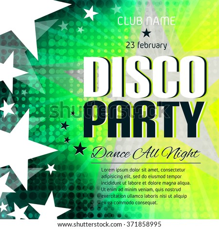 Disco Party Poster Place Text Colorful Stock Vector 371858995