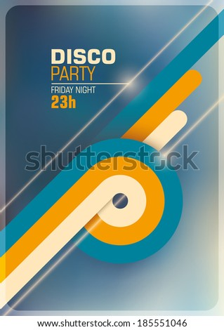Disco party poster with retro abstract elements. Vector illustration. - stock vector