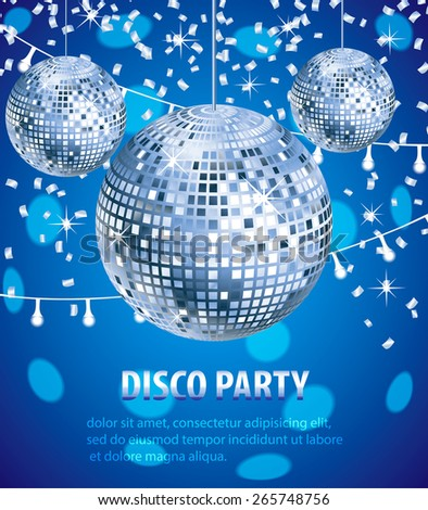 Disco party poster  with sparkling silver and blue color disco balls and confetti,  event background - stock vector