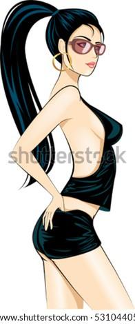 Disco sexy glamour girl - stock vector