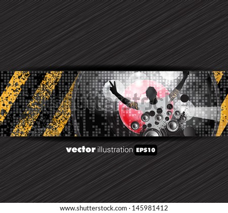 Discoteque music background. Vector - stock vector