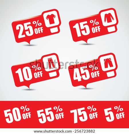 Discount and special price bubble set with different cloth icons - stock vector