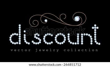 Discount banner with diamond jewelry letters and gold jewellery swirl decoration on black, vector illustration - stock vector
