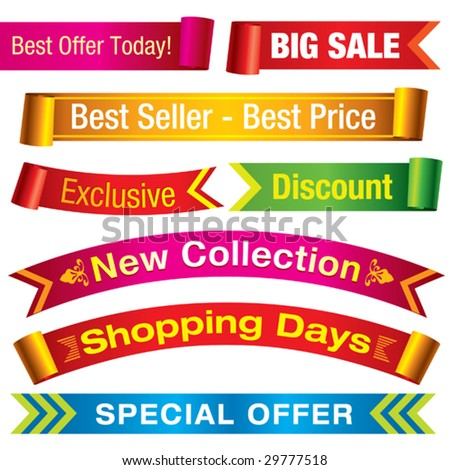 Discount banners. Visit my portfolio for similar images. - stock vector