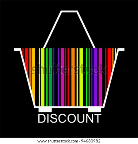 DISCOUNT bar code Shopping basket, vector - stock vector
