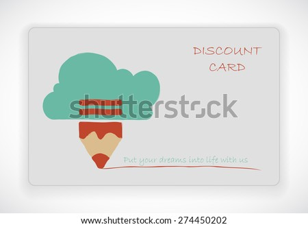 Discount card. Pencil with cloud. - stock vector