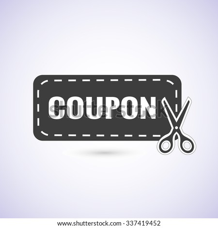 Discount coupon, label, tag with scissors icon isolated on white background. Vector illustration EPS 10 - stock vector