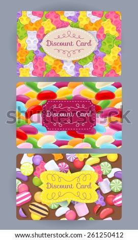 Discount gift cards set. Abstract sweets background - gummy bears, jelly beans, candies. - stock vector