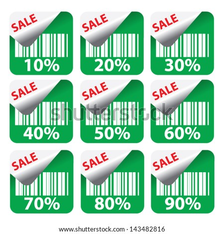 Discount green labels sale 10 - 90 percent text on square. Vector. - stock vector