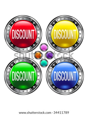 Discount icon on round colorful vector buttons suitable for use on websites, in print materials or in advertisements.  Set includes red, yellow, green, and blue versions.