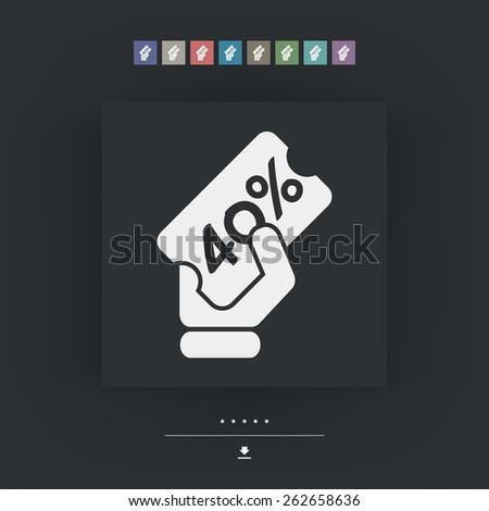 Discount label icon 40% - stock vector
