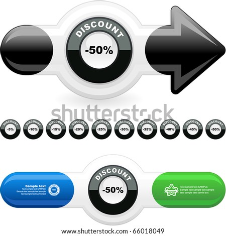 Discount label templates with different percentages - stock vector