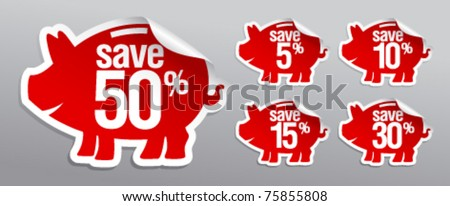 Discount labels in form of piggy bank. - stock vector