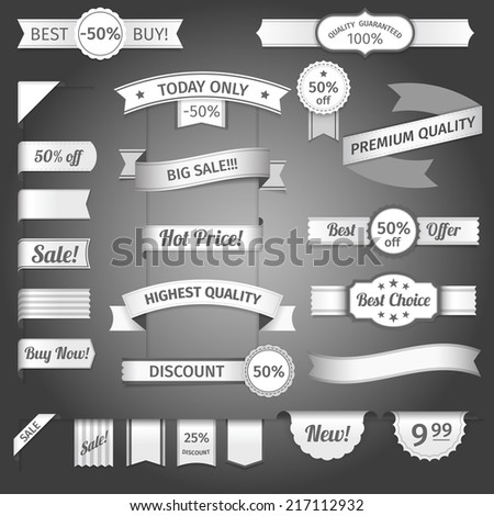 Discount marketing promotion retro paper ribbon set isolated vector illustration - stock vector