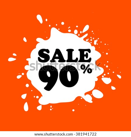 Discount on white blot. Colored blot. Orange color backgraund. Discount 90 percent. Discount 90 percent. Vector label. Ninety percent sale. - stock vector