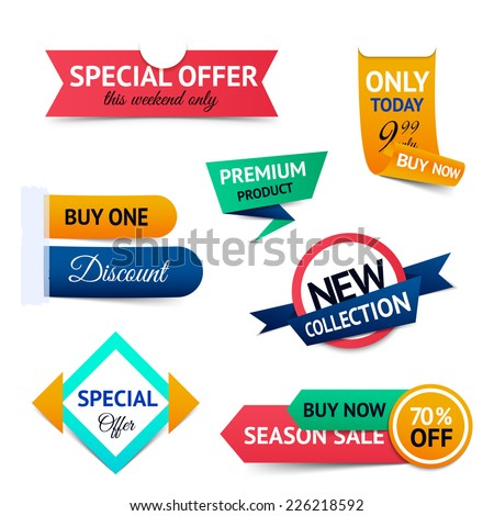 Discount premium product special offer retro color origami ribbon banner set isolated vector illustration - stock vector