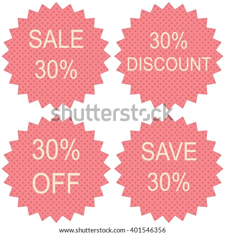 Discount price tags. 30 percent sale. Vector. - stock vector