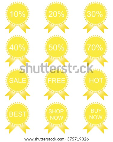 Discount price tags. Vector image in yellow tones. - stock vector