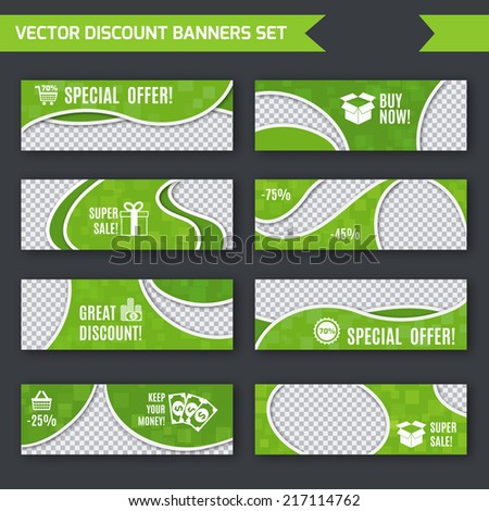 Discount promotion advertising green paper banners set isolated vector illustration - stock vector
