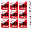 Discount red labels sale 10 - 90 percent. Vector. - stock vector