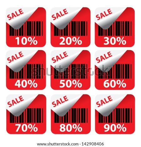 Discount red labels sale 10 - 90 percent. Vector. - stock vector