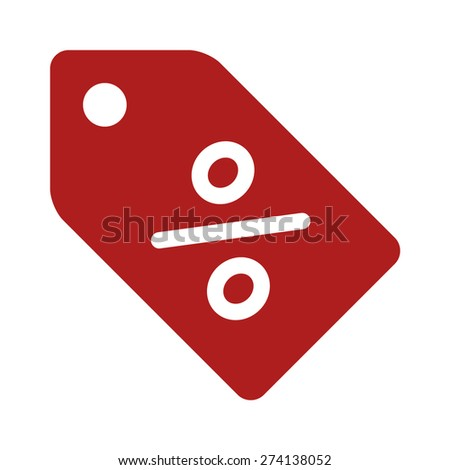 Discount sales tag with percentage sign flat icon for apps and websites - stock vector