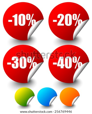 Discount Stickers, labels with Minus 10 to 40 Percents - stock vector
