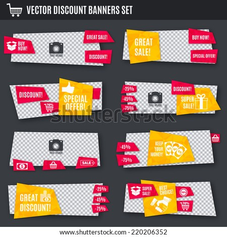 Discount super sale special offer yellow and red paper banners set isolated vector illustration - stock vector