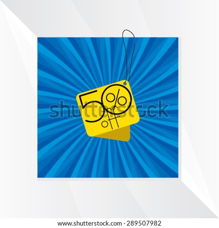 discount tag over blue background vector  - stock vector