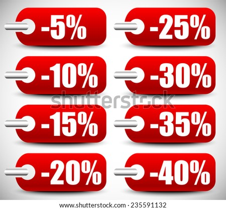 Discount tags vector set - stock vector