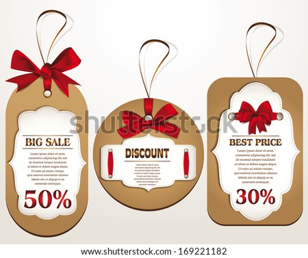 Discount tags with red ribbons. Vector illustration - stock vector