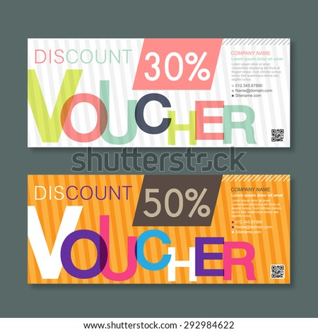 discount Voucher template with colorful pattern. - stock vector