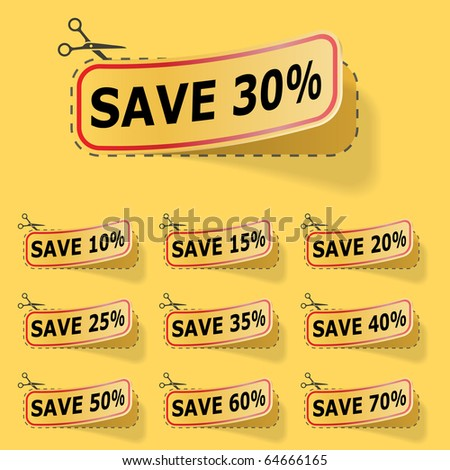 Discount yellow vector labels. - stock vector