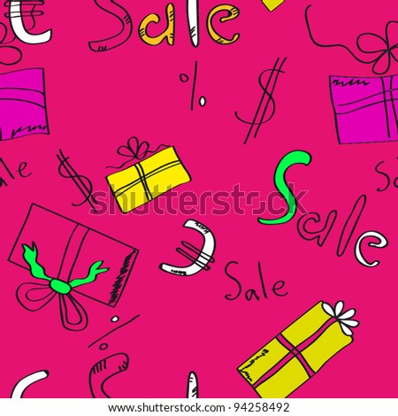 Discounts. Packaging for purchases. Sale seamless  texture. - stock vector