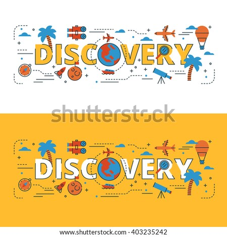 Discovery lettering flat line design with icons and elements for book cover, report header, presentation,illustration, infographics, printing, website banner and landing page. - stock vector
