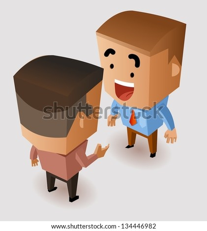 Discussion with business partner. Vector Illustration - stock vector